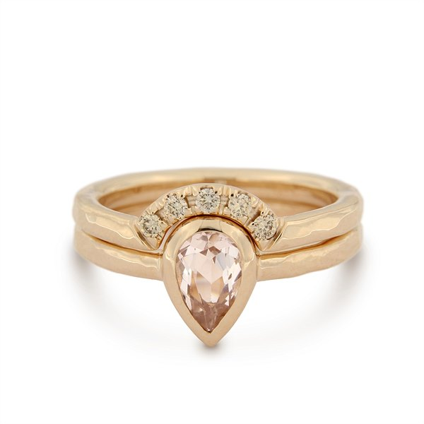 Katie g. Jewellery - Morganit Stacking Set_Morganit Ring (unterer Ring) 14kt. Rosé Gold mit Morganit Stein_Slot RIng (oberer Ring) 14kt. Rosé Gold mit 5 Brillianten_Set EUR 3100