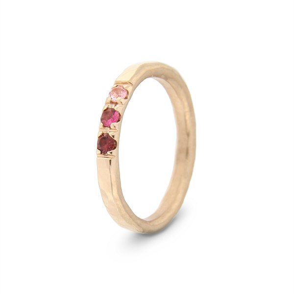 Katie g. Jewellery - Hammered Ring 2,0 - 14kt. Roségold - Turmaline in three different shades of pink