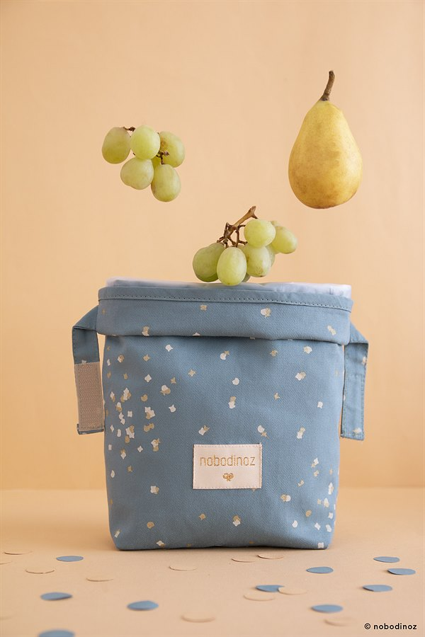 kyddo_Nobodinoz_Lunch Bag Gold Confettig Magic Blue EUR 14,95