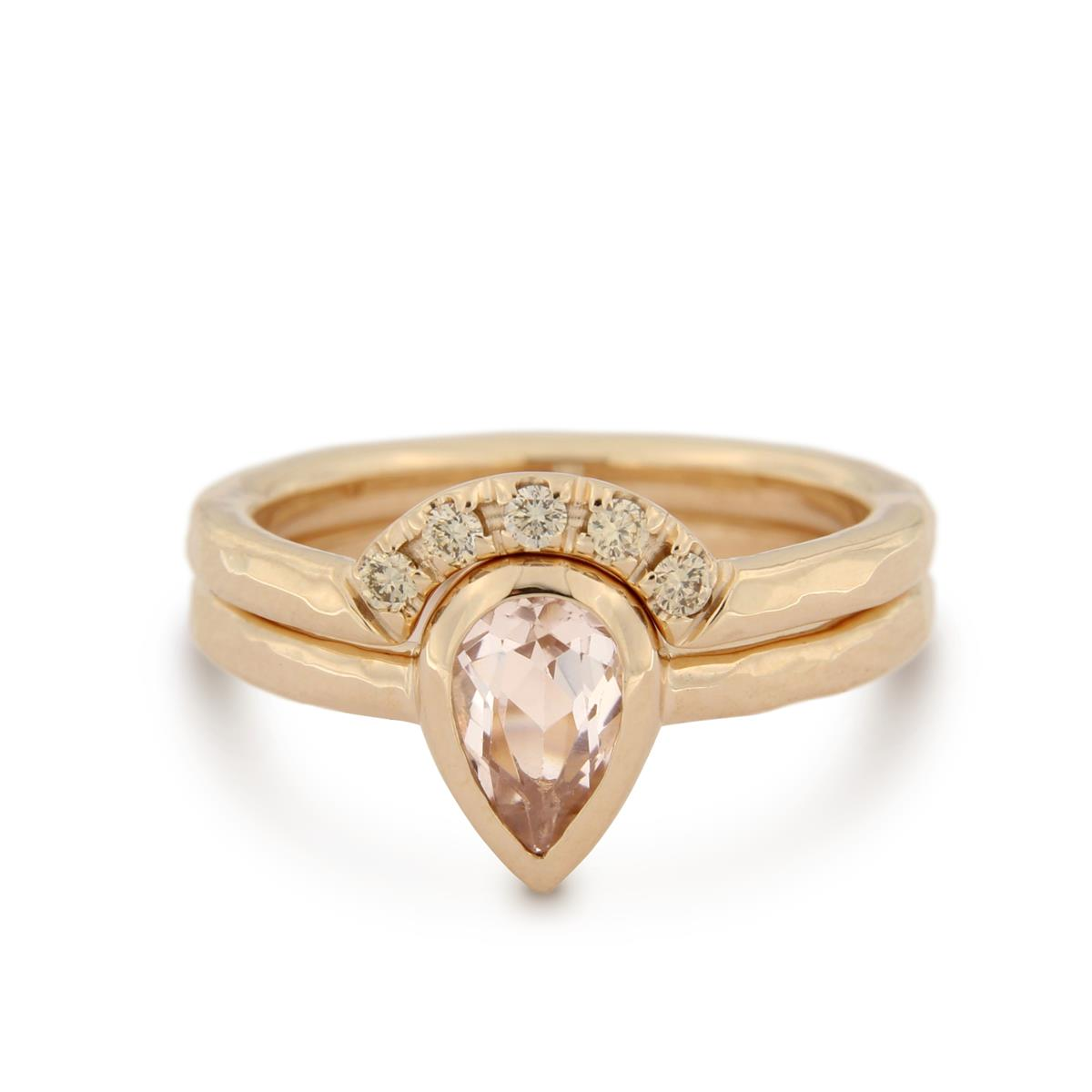 Katie g. Jewellery - Morganit Stacking Set_Morganit Ring (unterer Ring) 14kt. Rosé Gold mit Morganit Stein_Slot RIng (oberer Ring) 14kt. Rosé Gold mit 5 Brillianten_Set EUR 3.100
