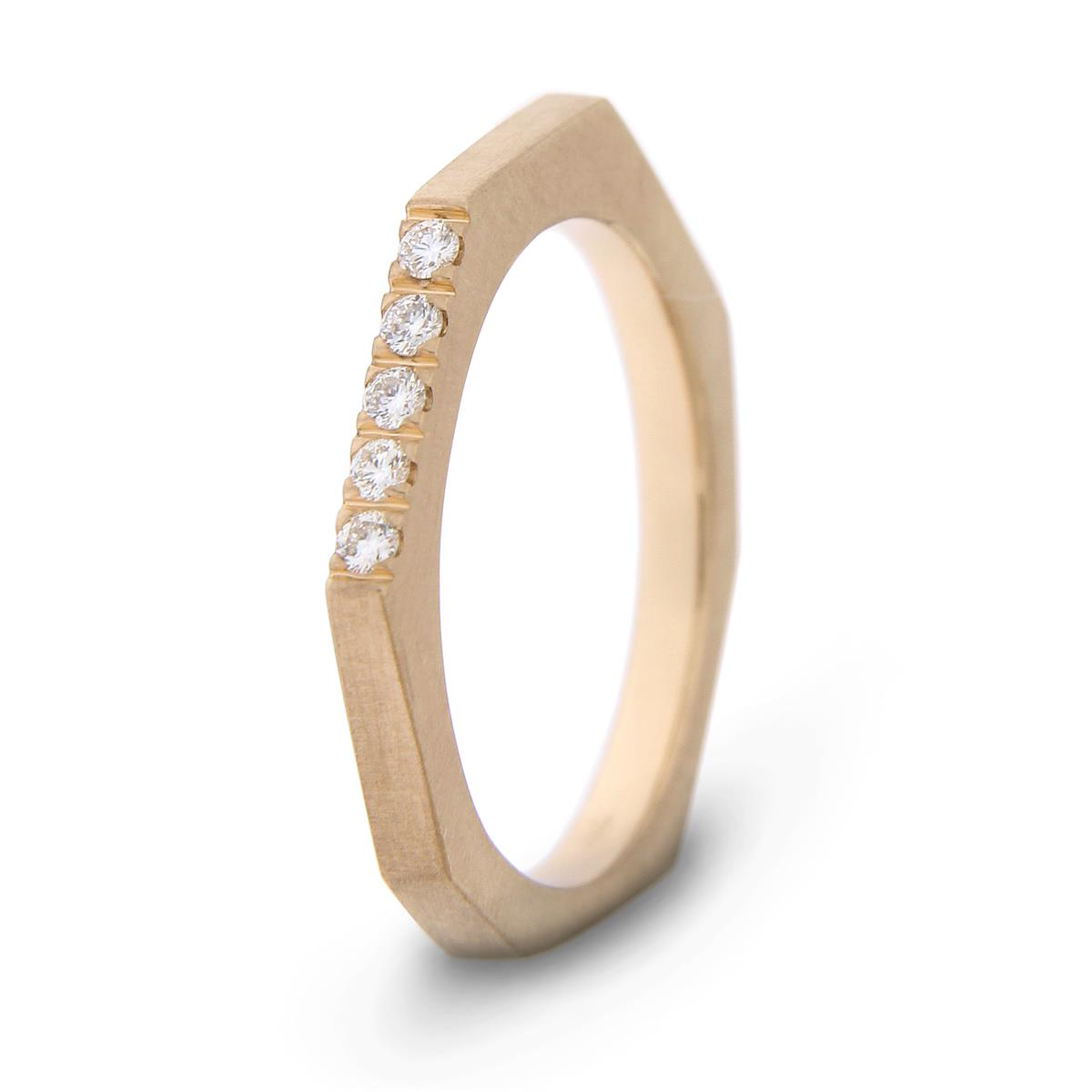 Katie g. Jewellery - Ringe mit Diamanten - Cutting Edge Ring XS - mattes 14kt. Roségold - mit 4 Brillanten