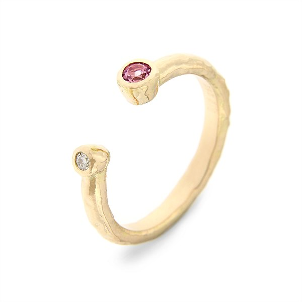 Katie g. Jewellery_ Colour Burst Ring - Rosa Turmalin mit Brillant in 14kt. Roségold