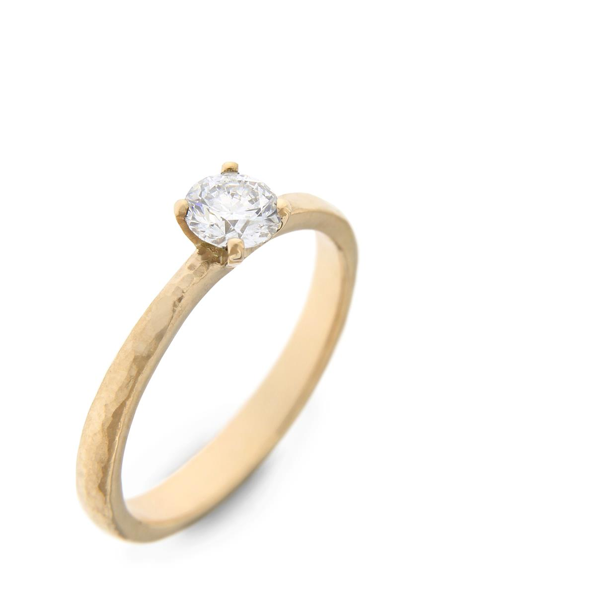 Katie g. Jewellery_Hammered GG + Brillant Solitaire